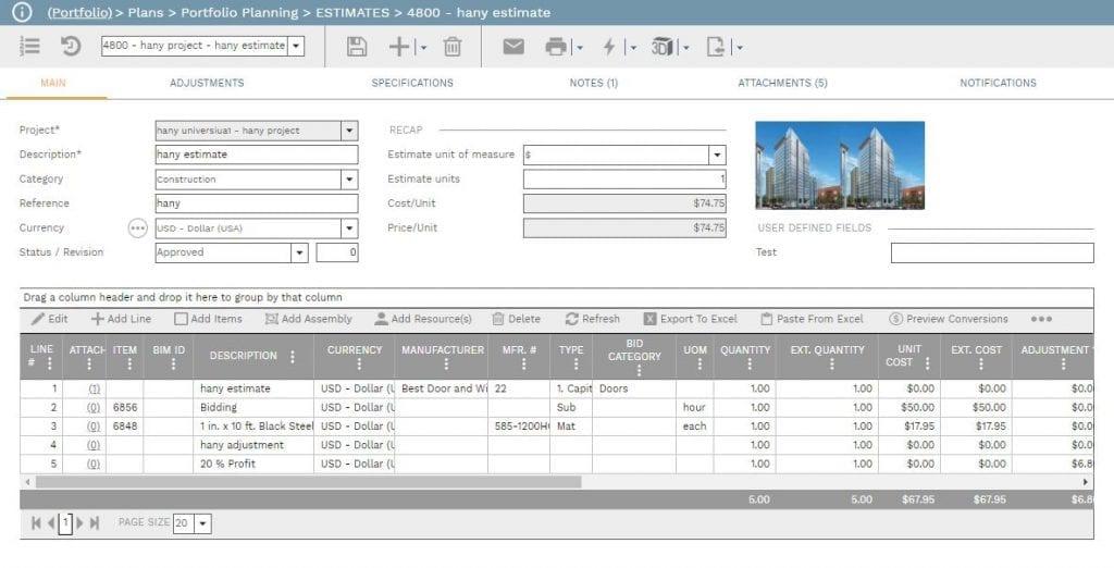 PMWeb 7 Plan estimating