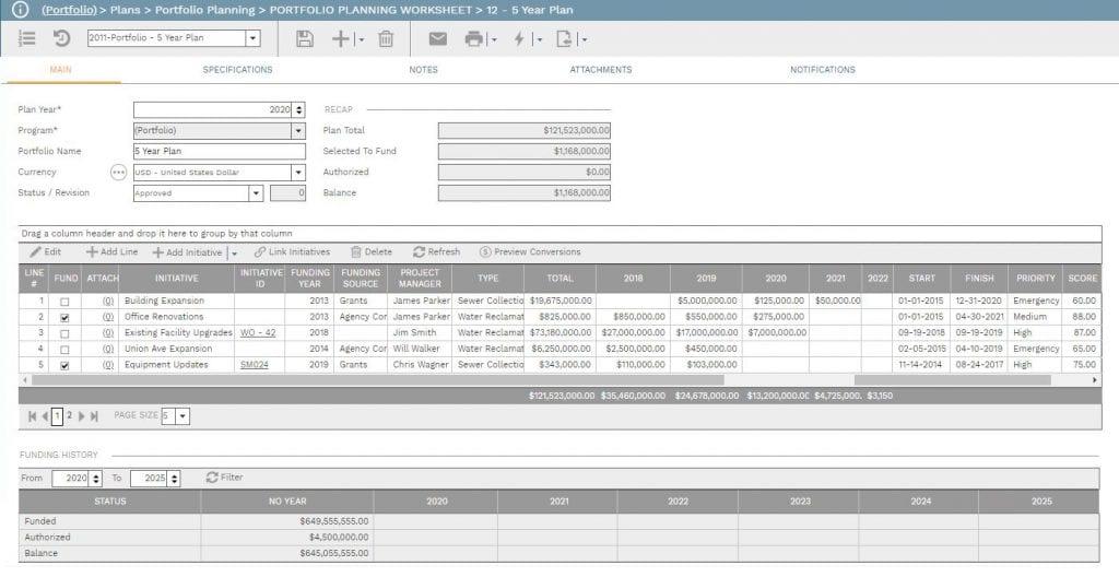 PMWeb 7  Plans Portfolio Planning Worksheet