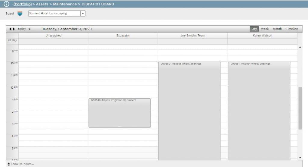 PMWeb 7 Assets Dispatch Board Calendar Maintenance
