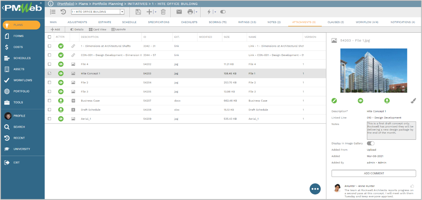 Attachments Tabs Throughout PMWeb Reflect Document Manager 2
