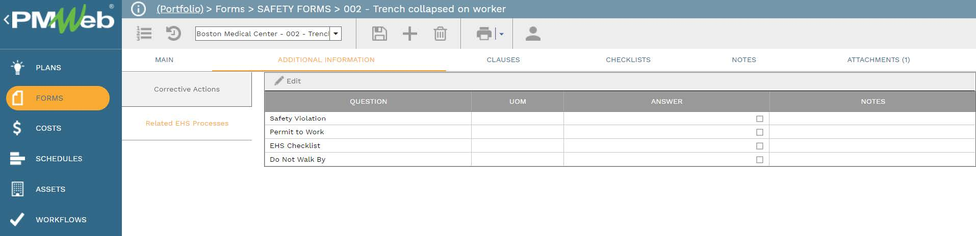 PMWeb 7 Forms Safety Forms Trench Collapsed on Worker Additional Information