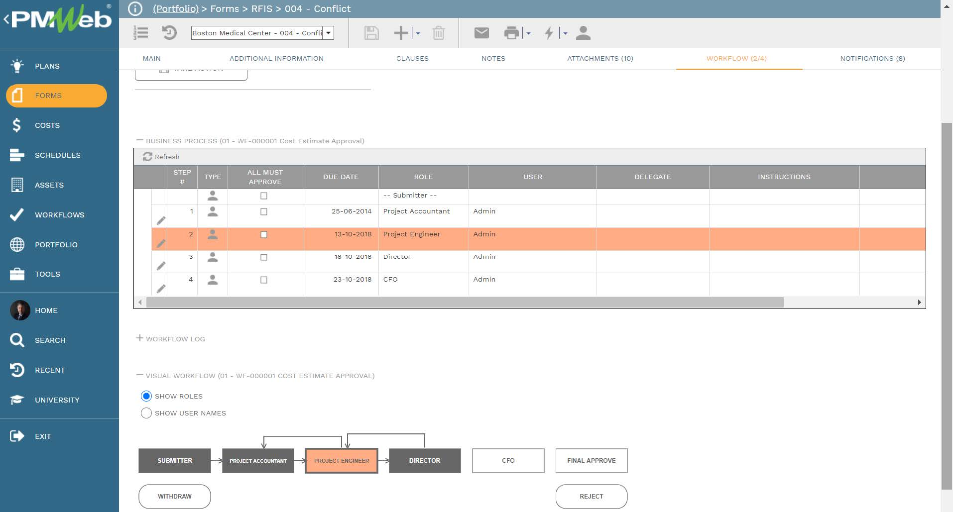 PMWeb 7 Forms RFIs Conflict Workflow