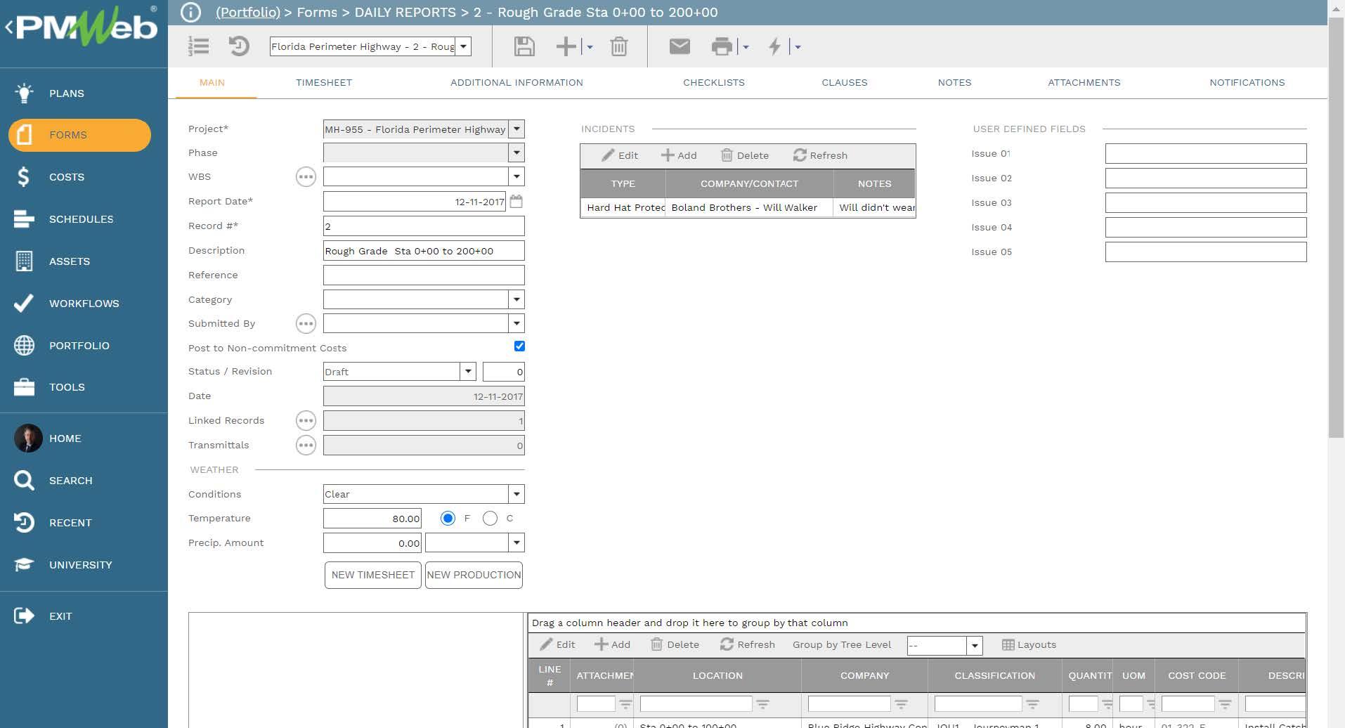 PMWeb 7 Forms Daily Reports Rough Grade Sta Main