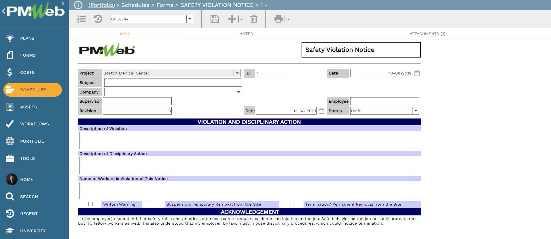 PMWeb 7 Schedules Forms Safety Violation Notice Main