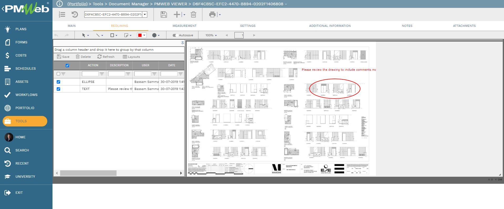 PMWeb 7 Tools Document Manager PMWEB Viewer Redlining