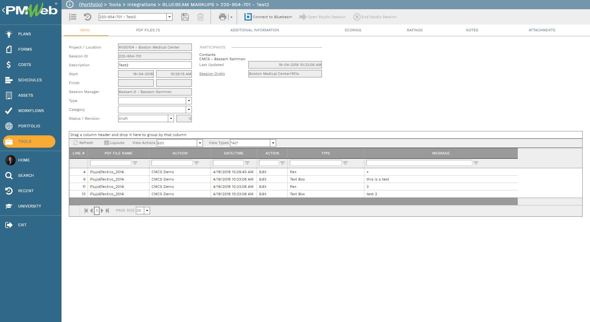 PMWeb 7 Tools Integration Bluebeam Markups Main