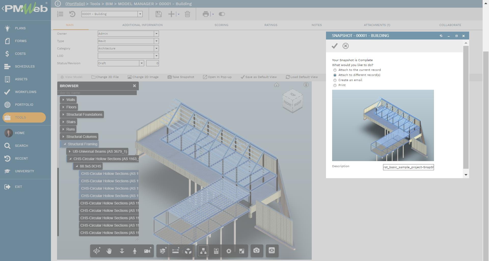 PMWeb 7 Tools BIM Model Manager Building Main Snapshot Building