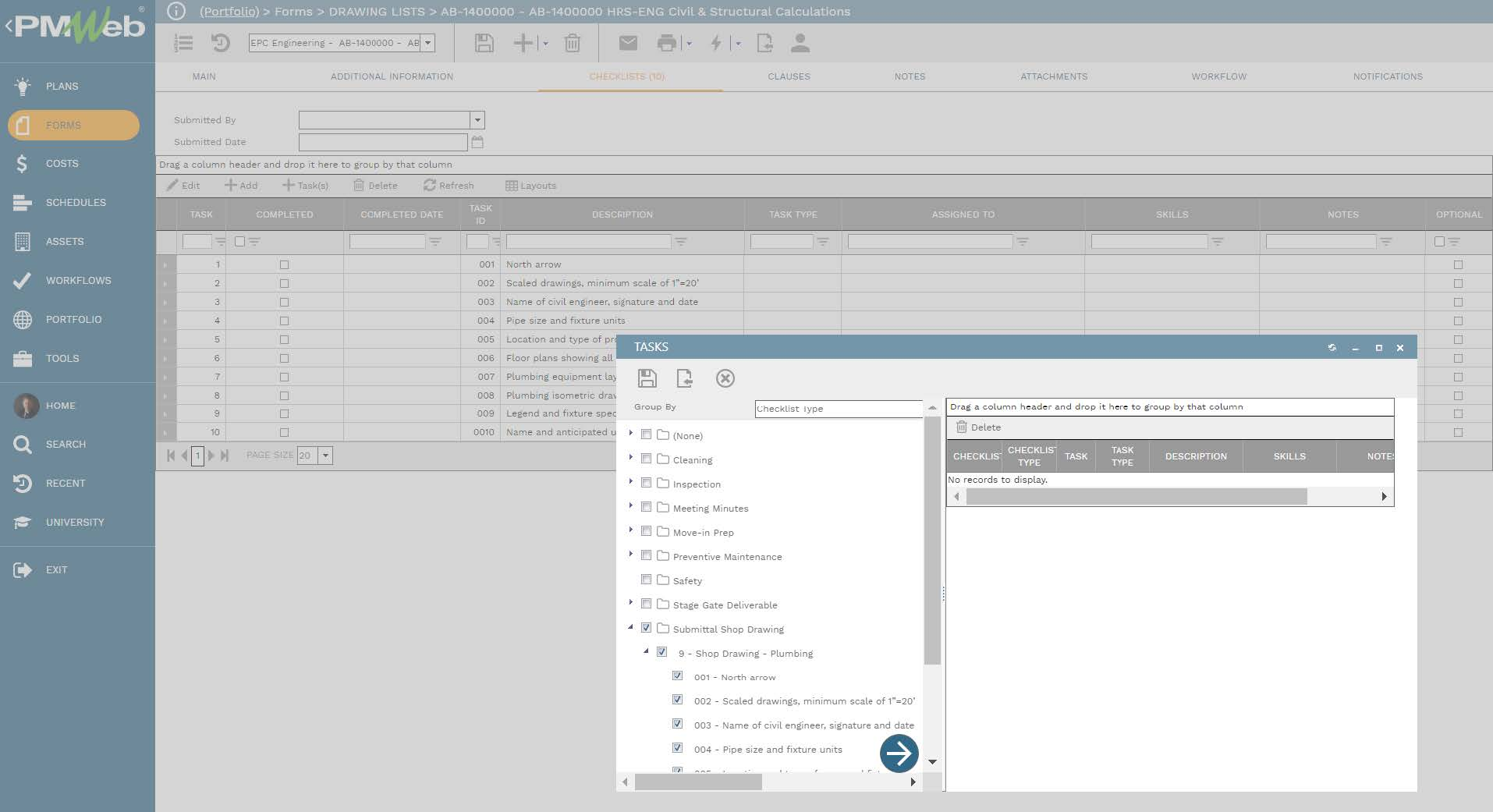 PMWeb 7 Forms Drawing Lists Checklist Tasks