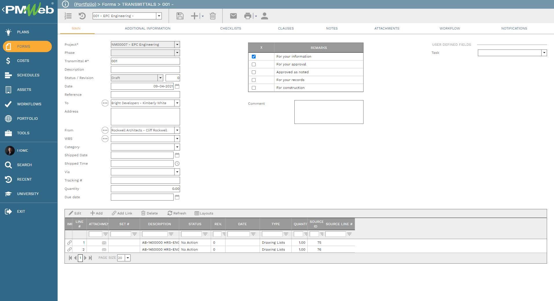 PMWeb 7 Forms Transmittals Main