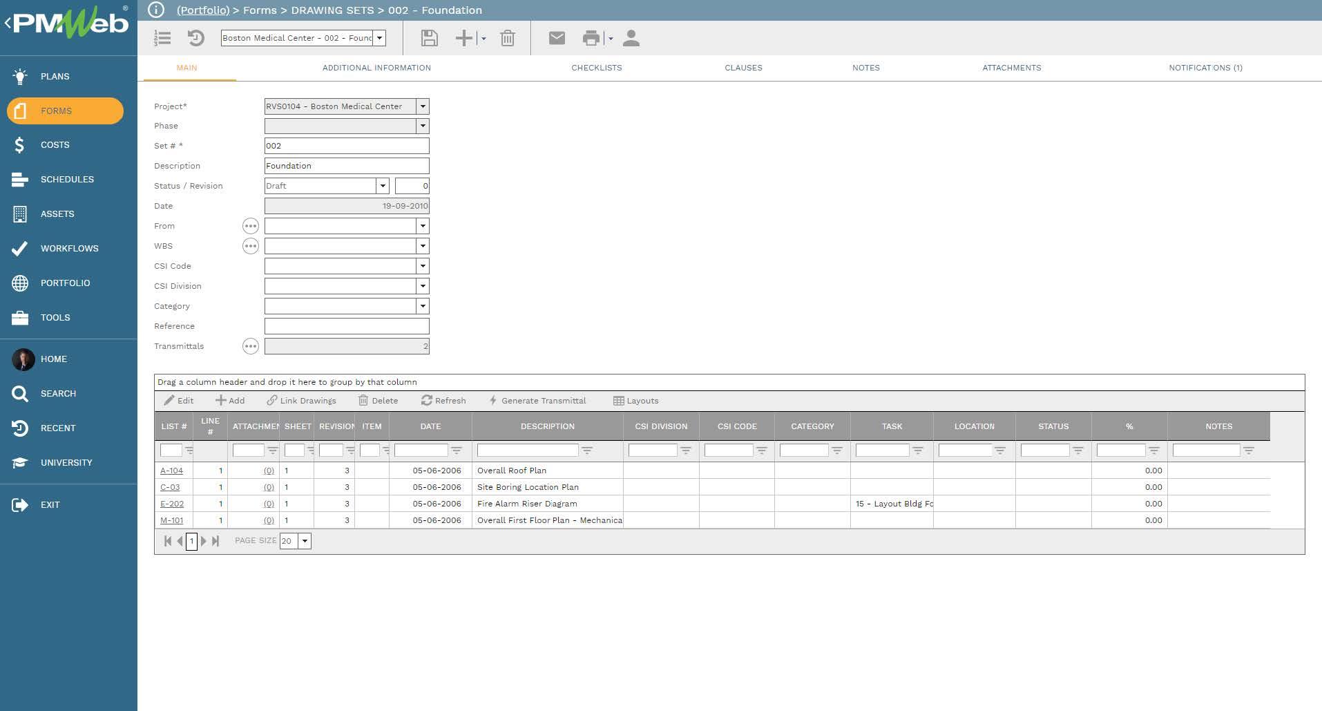 PMWeb 7 Forms Drawing Sets Foundation Main