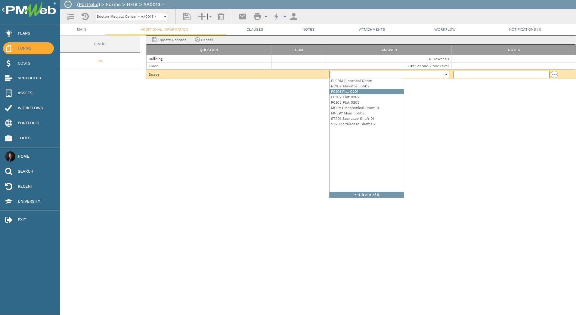 PMWeb 7 Forms RFIs Additional Information