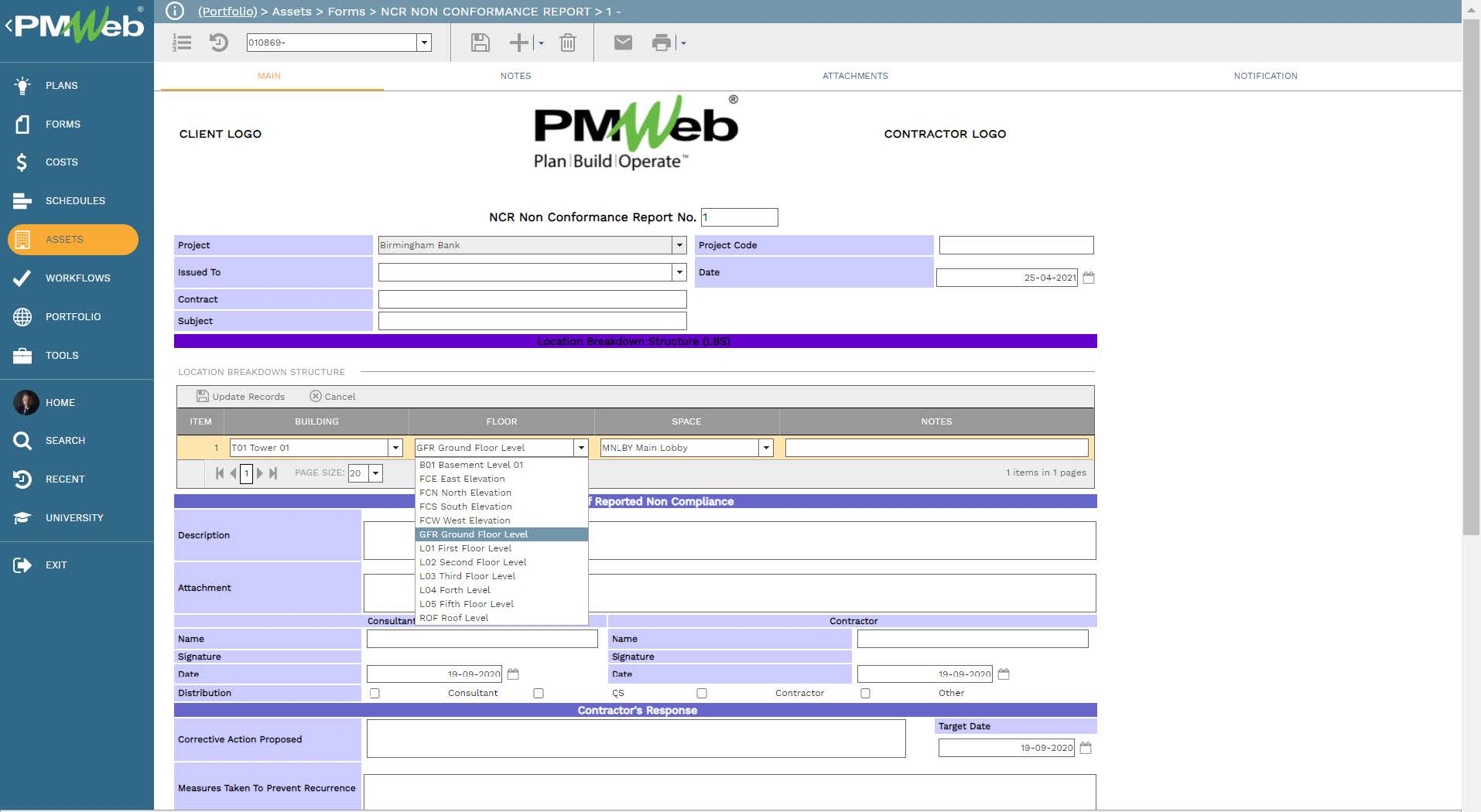 PMWeb 7 Assets Forms NCR Non Conformance Report