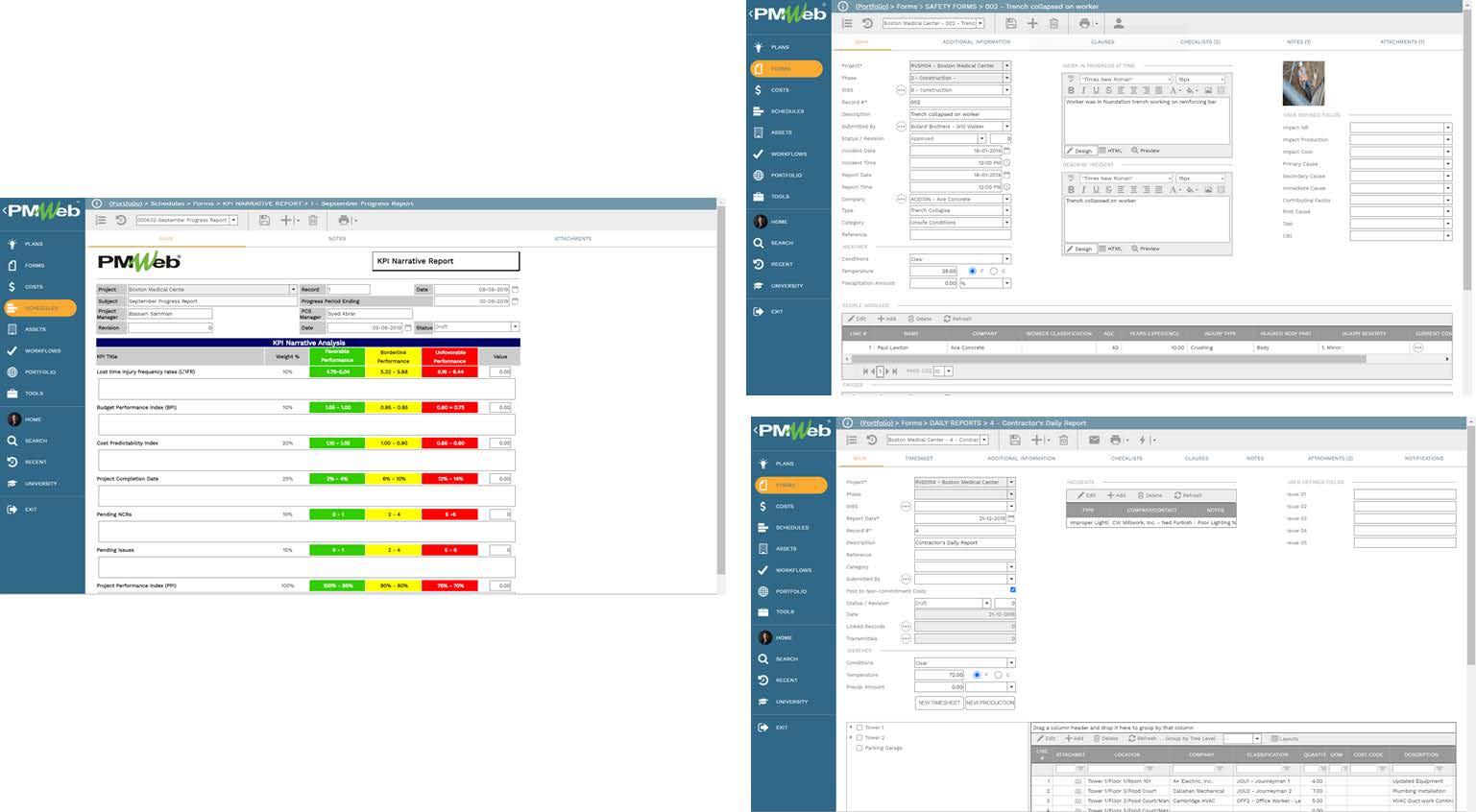 PMWeb 7 Schedules Forms Main  PMWeb 7 Forms Safety Forms Main  PMWeb 7 Forms Daily Reports Contractor Daily Report Main