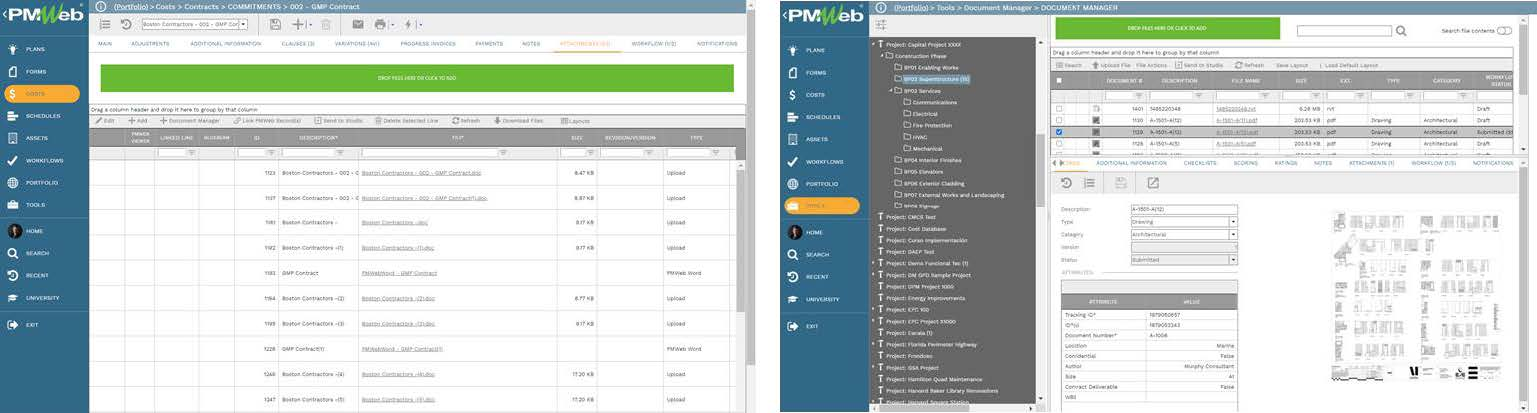 PMWeb 7 Costs Contracts Commitments GMP Contract Attachments  PMWeb 7 Tools Document Manager
