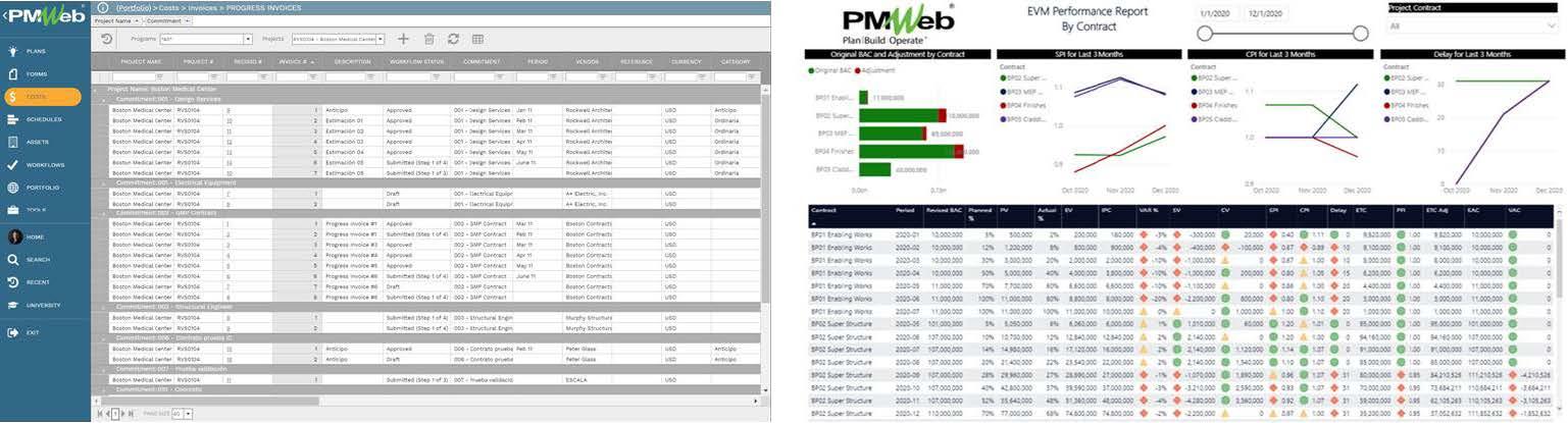 PMWeb 7 Costs Invoices Progress Invoices  PMWeb 7 EVM Performance Report by Contract