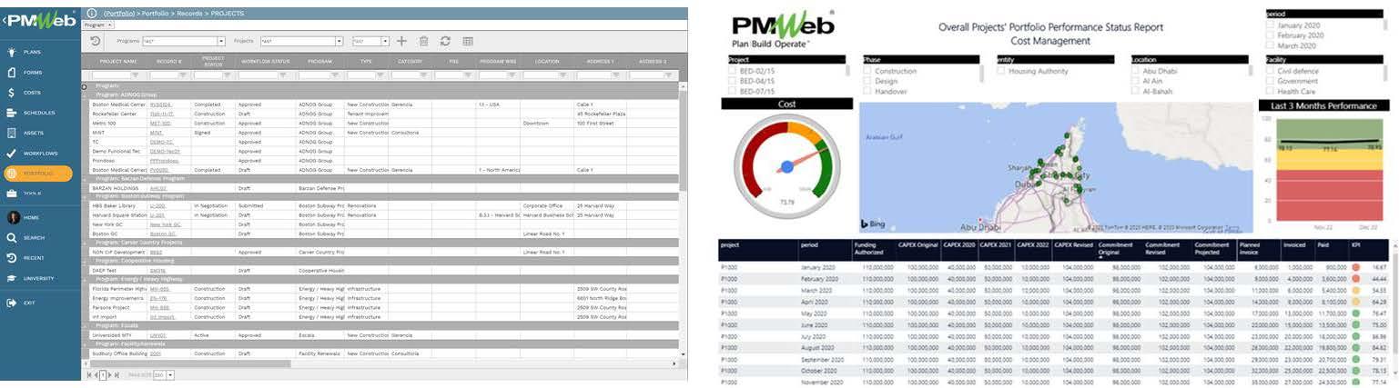 PMWeb 7 Portfolio Records Projects PMWeb 7 Overall Projects' Portfolio  Performance Status Report Cost Management