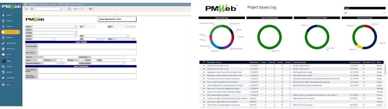 PMWeb 7 Schedules Forms Issues Resolution Form Main  PMWeb 7 Project Issuess Log