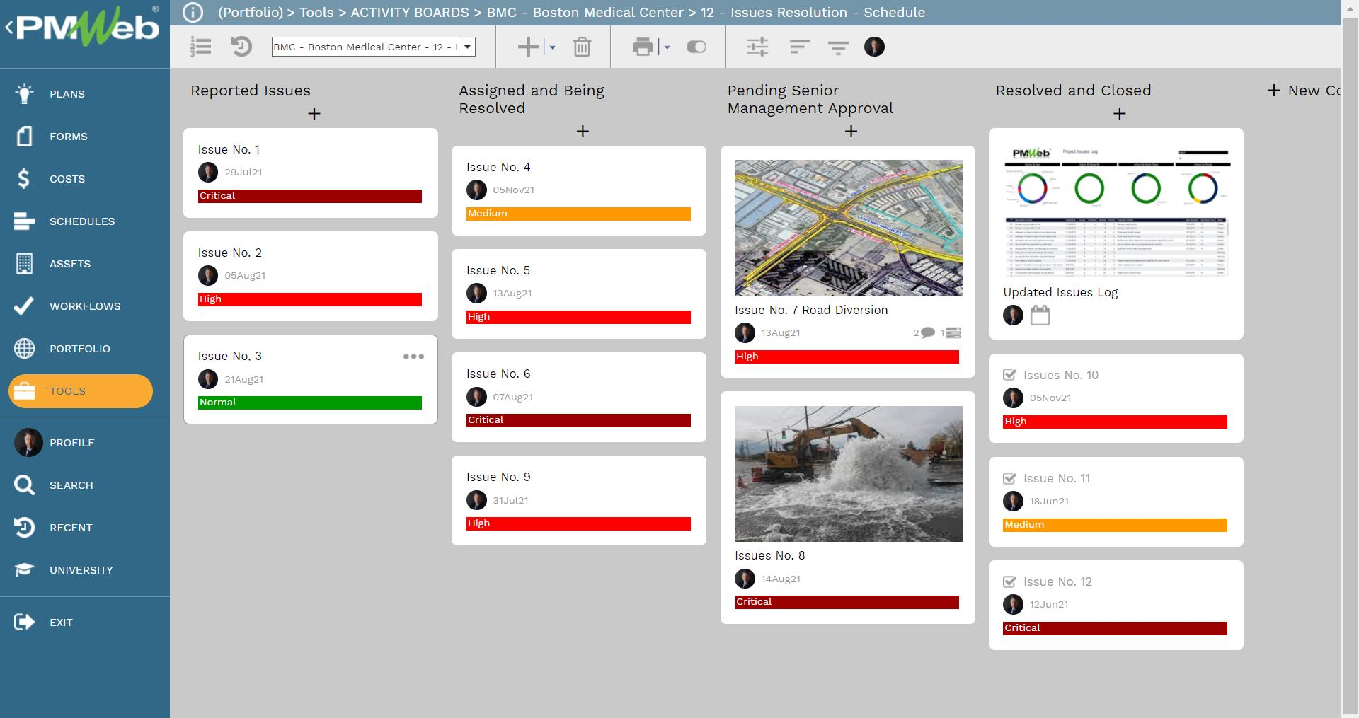 PMWeb 7 Tools Activity Boards BMC Boston Medical Center 12 Issues Resolution Schedule