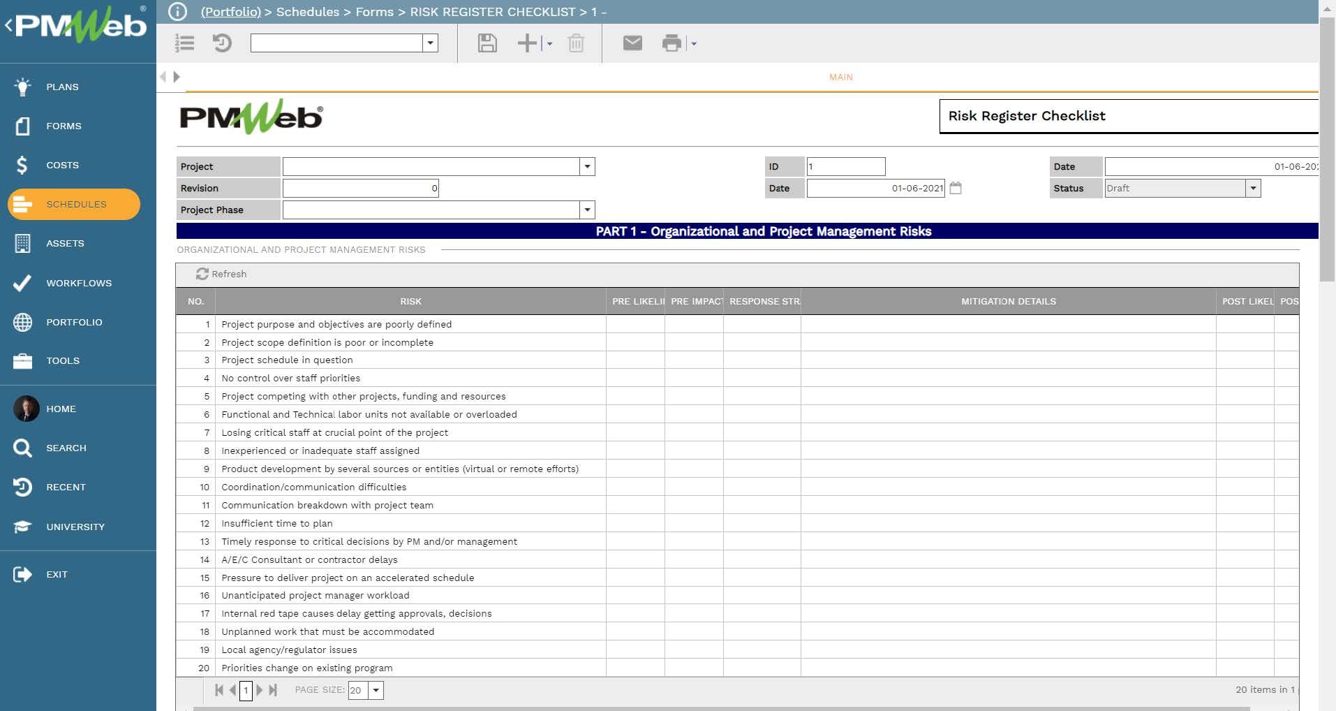 PMWeb 7 Schedules Forms Risk Register Checklist Main