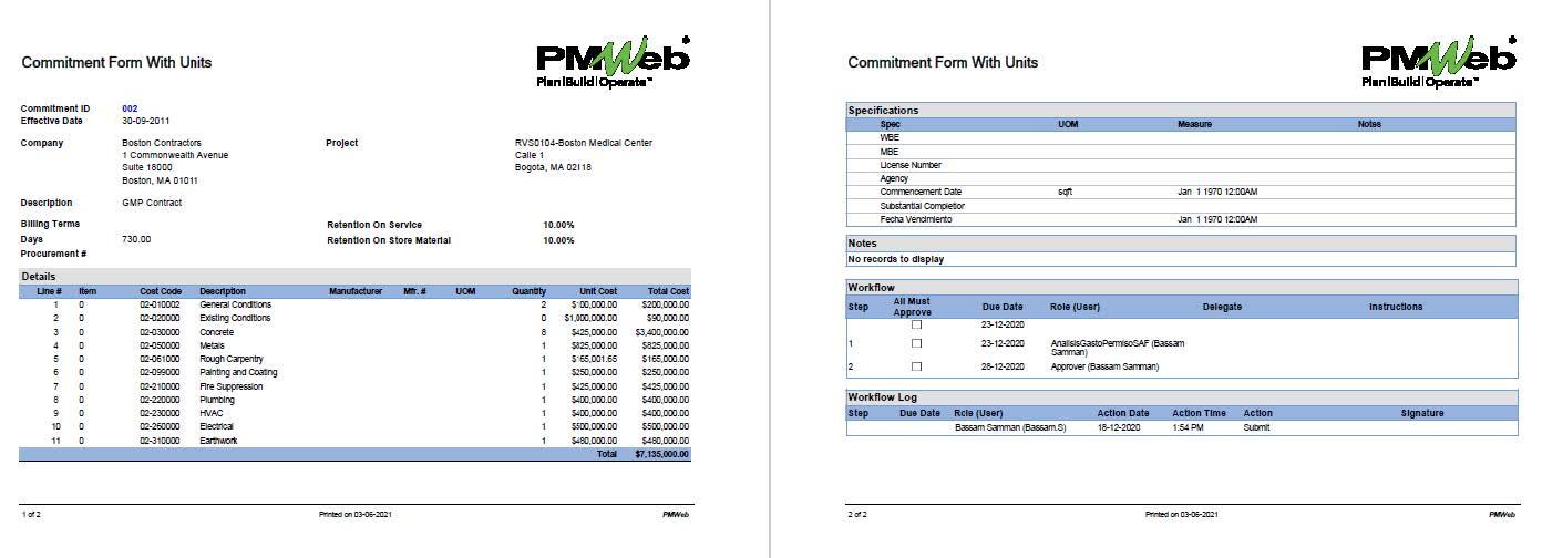 PMWeb 7 Commitment Form With Units