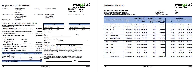 PMWeb 7 Progress Invoice Form Payment  PMWeb 7 Continuation Sheet